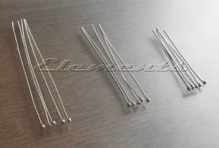 Sterling Silver Ball End Head Pins 30mm 40mm 50mm